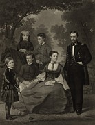 First Ladies Photo Framed Prints - Ulysses S. Grant With His Family When Framed Print by Everett