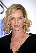Curled Hair Prints - Uma Thurman At Arrivals For Room To Print by Everett