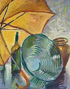 Interior Still Life Drawings Metal Prints - Umbrella and the bottle Metal Print by Piotr Antonow