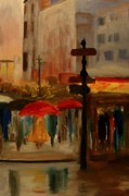 Summer Framed Prints Paintings - Umbrella Day by Julie Lueders