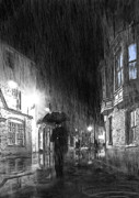 Street Lights Prints - Umbrella Man I Print by Svetlana Sewell