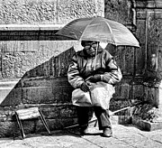 Homeless Man Prints - Umbrella Man Print by Kenneth Mucke