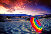 Umbrella Metal Prints - Umbrella on desert sands Metal Print by Garry Gay