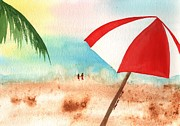 Baseball Cap Painting Prints - Umbrella on the Beach Print by Sharon Mick