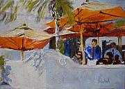 Cafe Umbrellas Posters - Umbrella Terrace Poster by Barbara Andolsek