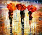 Men Art Painting Originals - Umbrellas by Leonid Afremov