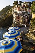 Cinque Terre Posters - Umbrellas of Riomagiorre Poster by  Samdobrow  Photography