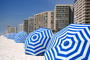 Colorful Photos Originals - Umbrellas on the Beach by Paul Schlenker