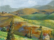 Creative Painting Framed Prints - Umbrian Countryside Framed Print by Chris Brandley