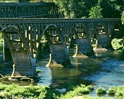 Umpqua River Framed Prints - Umpqua River Bridge Framed Print by Paul Michael Smith