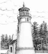Stippling Framed Prints - Umpqua River Lighthouse Framed Print by Lawrence Tripoli