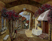 Table Framed Prints - Un Bicchiere Sotto Il Lampione Framed Print by Guido Borelli