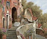Village Painting Framed Prints - Un Caffe Al Fresco Sulla Salita Framed Print by Guido Borelli
