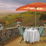 Red Prints - Un Caffe Print by Guido Borelli