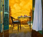 Chairs Framed Prints - Un Caldo Pomeriggio D Framed Print by Guido Borelli