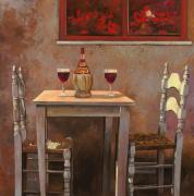 Red Flowers Painting Posters - un fiasco di Chianti Poster by Guido Borelli