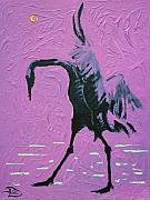 Cranes Mixed Media Prints - Un-Fuchsia Crane  Print by Lowell Devin