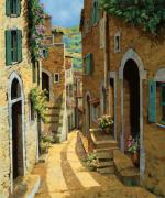 Provence Village Painting Posters - Un Passaggio Tra Le Case Poster by Guido Borelli