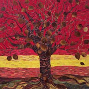 Tree Roots Paintings - Un Rooted Autumn by Claudia French