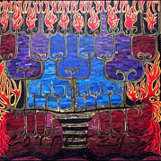 Menorah Paintings - Un Rooted Resilience by Claudia French