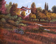 Red Leaves Painting Posters - Una Bicicletta Nel Bosco Poster by Guido Borelli