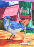 Bluejay Painting Metal Prints - Unattended Metal Print by Catherine G McElroy