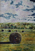 Haybales Painting Metal Prints - Uncertain Skies Metal Print by Patsy Sharpe