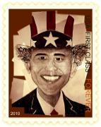 Barack Obama Mixed Media Framed Prints - UNCLE BAM  Postage Stamp Framed Print by Teodoro De La Santa