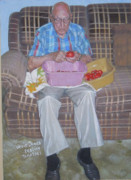Tomatoes Mixed Media Prints - Uncle James Peeling Tomatoes Print by Rich Richardson