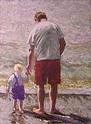 Teenager Pastels Posters - Uncle Jon and Mud My Favorite Things Poster by Mary McInnis