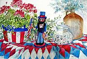 Patriotic Paintings - Uncle Sam and Star Cookies by Lois Mountz
