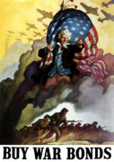 War Propaganda Digital Art Metal Prints - Uncle Sam Buy War Bonds Metal Print by War Is Hell Store