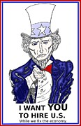 News Mixed Media - Uncle Sam caricature by OptionsClick BlogArt