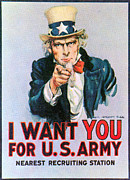Flagg Posters - Uncle Sam I Want You Army Recruitment Poster by Everett