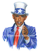 Political  Pastels - Uncle Sam Obama by Deb Hoeffner