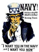 Patriotic Framed Prints - Uncle Sam Wants You In The Navy Framed Print by War Is Hell Store