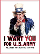 World War Two Digital Art Metal Prints - Uncle Sam  Metal Print by War Is Hell Store