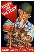 Sam Mixed Media Prints - Uncle Sam Yours For Victory Print by War Is Hell Store