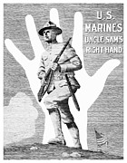 Marines Framed Prints - Uncle Sams Right Hand Framed Print by War Is Hell Store