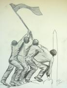 Iwo Jima Drawings - Uncommon Valor by Tobi Cooper