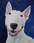 Bull Terrier Paintings - Unconditional by Jindra Noewi