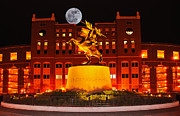 Doak Campbell Stadium Posters - Unconquered and Full Moon Poster by Frank Feliciano