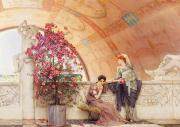 Greek Sculpture Painting Prints - Unconscious Rivals Print by Sir Lawrence Alma Tadema