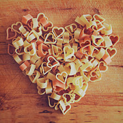 Food And Drink Posters - Uncooked Heart-shaped Pasta Poster by Julia Davila-Lampe