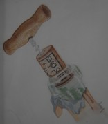 Wine Cork Drawings - Uncorked by Audrey Sullivan