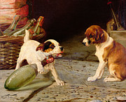 Puppies Painting Prints - Uncorking the Bottle Print by William Henry Hamilton Trood