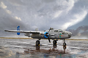 B-25 Bomber Prints - Under a Cloudy Sky Print by Nathan Mccreery