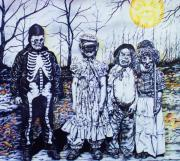 Man In The Moon Mixed Media Prints - Under a Halloween Moon Print by Michael Lee Summers