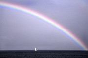 Catamaran Prints - Under a Rainbow Print by Thomas R Fletcher