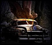 Vintage Cars Digital Art - Under A Tree The Car Grows by Steven  Digman